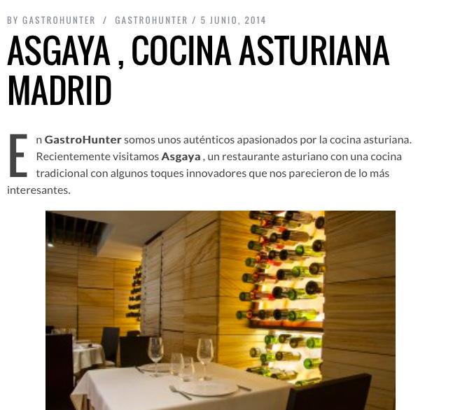 Cocina asturiana de calidad en madrid restaurante asgaya for Cocina asturiana