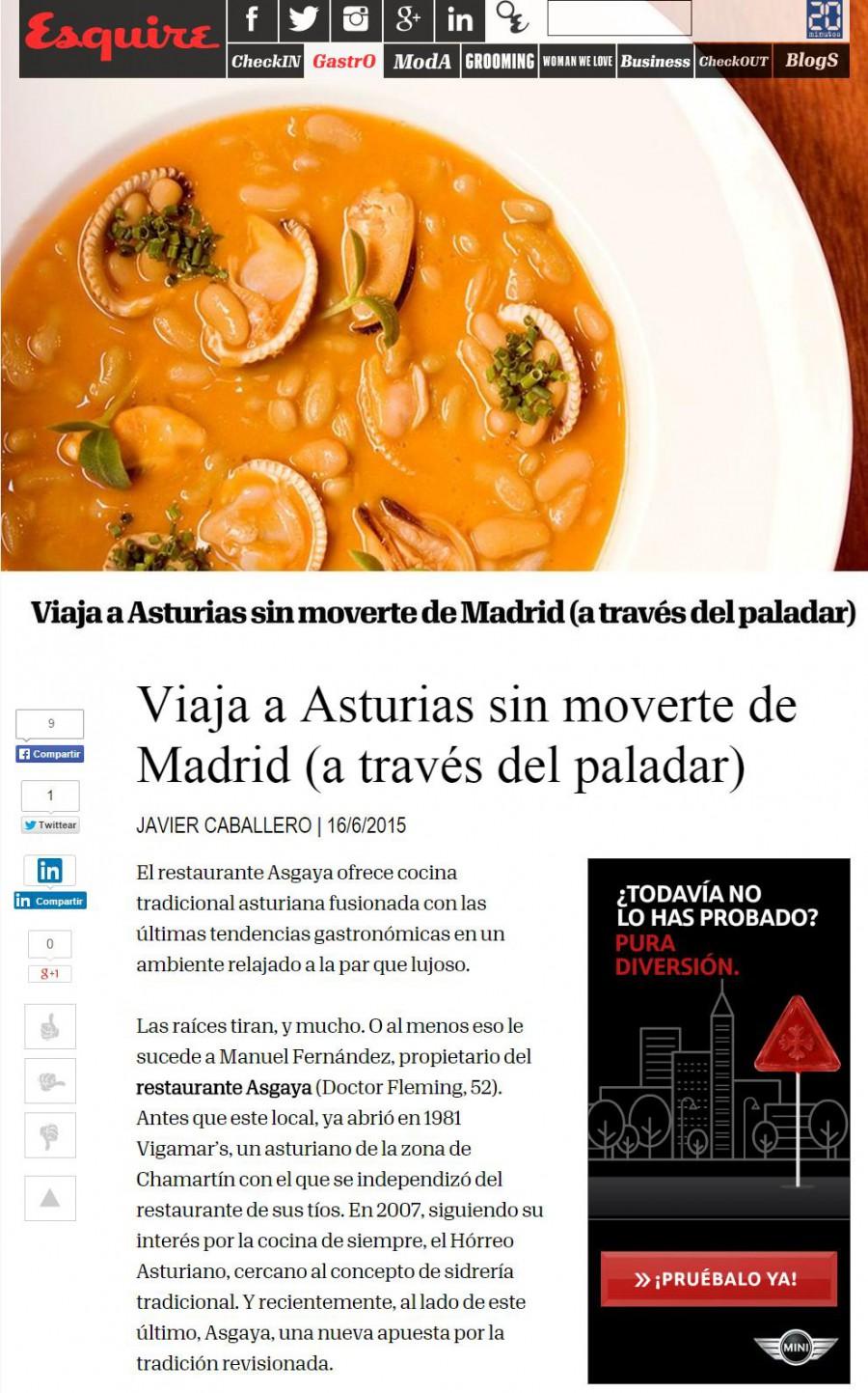 Esquire, viaje a Asturias sin moverte de Madrid