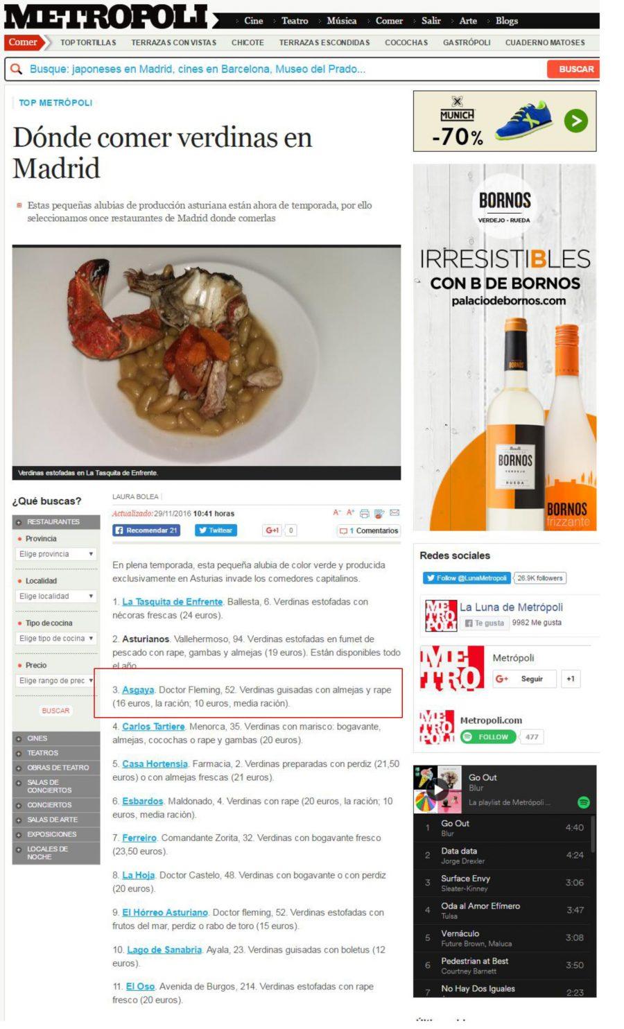 Dónde comer Verdinas en Madrid – Metrópli