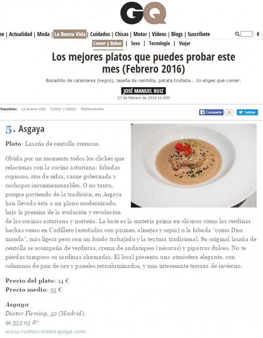 Asgaya en la Revista GQ